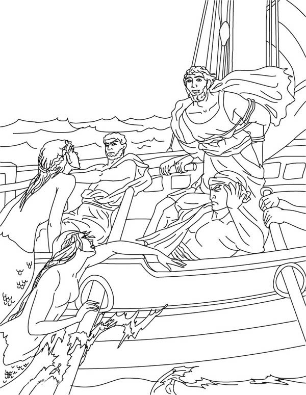 Greek Gods and Goddesses with Mermaids Coloring Page
