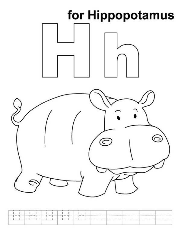 H for Hippopotamus in Hippo Coloring Page