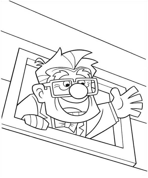 Happy Carl Fredricksen in Disney Up Coloring Page