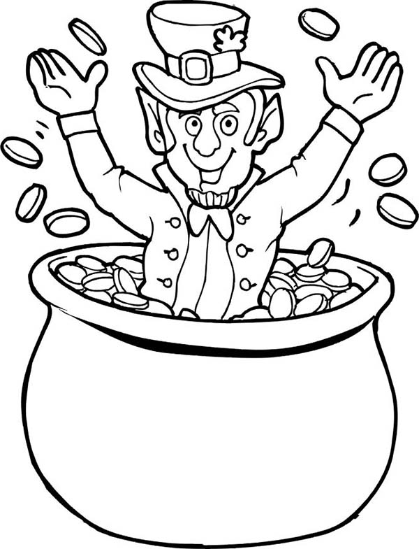 Happy Leprechaun Cheering St Patricks Day on Pot of Gold Coloring Page