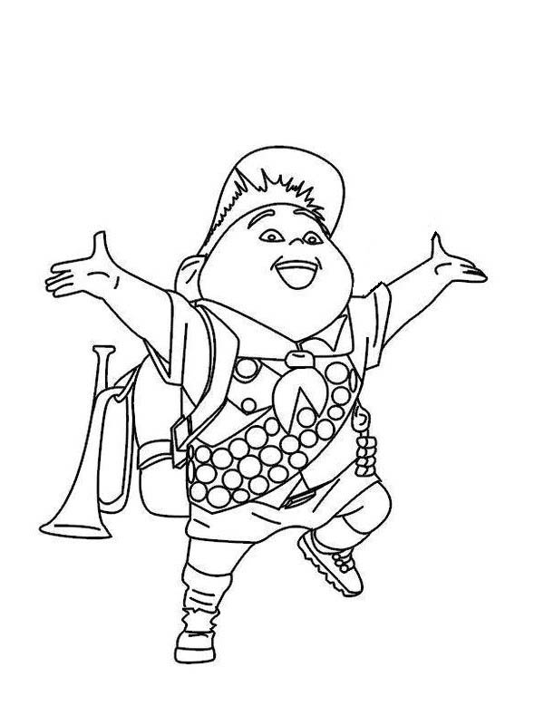 Happy Russell Disney Up Coloring Page