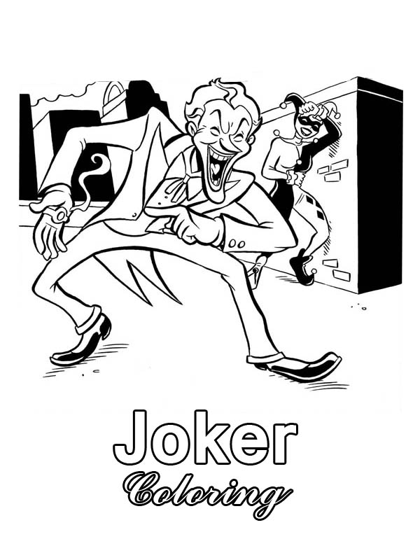 Harley Quinn and Joker Laughing Together Coloring Page