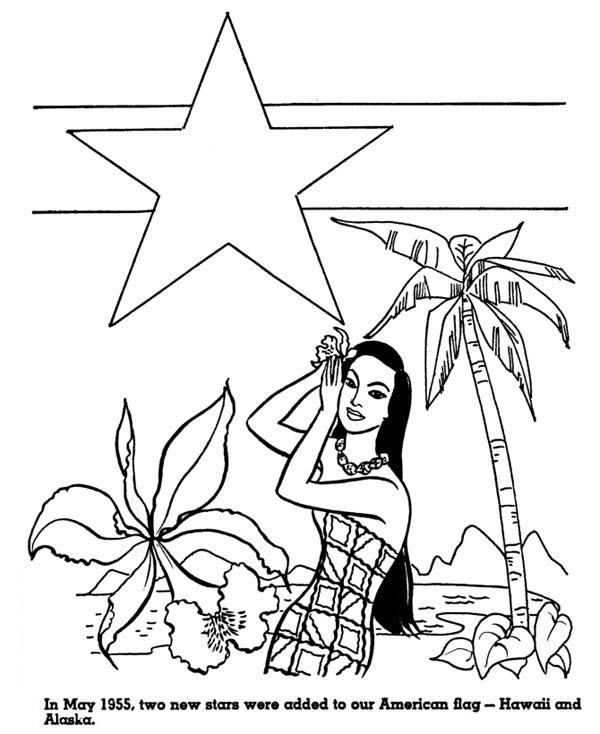 Hawaaii and Alaska for American Flag in Hawaiian Coloring Page