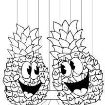 Hawaiian Fruit Pineapple Coloring Page