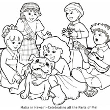 Hawaiian Girl Gather with Other Nation Children Coloring Page