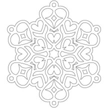 Heart Shaped Snowflakes Coloring Page