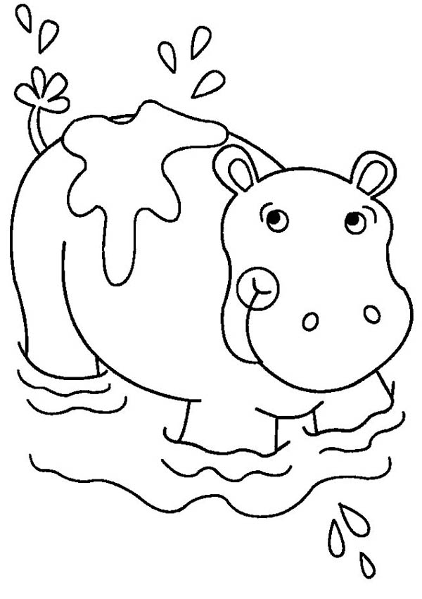 Hippo Bathing Coloring Page
