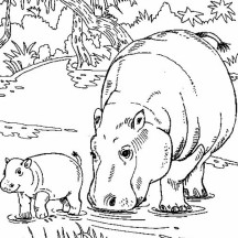 Hippo Eating with Her Baby Coloring Page