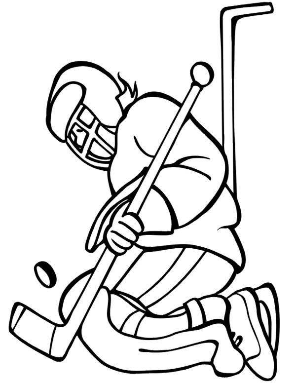 Hockey Goal Keeper Catch the Puck Coloring Page