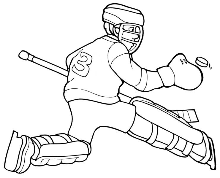 Hockey Goal Keeper Player Save His Goal Coloring Page
