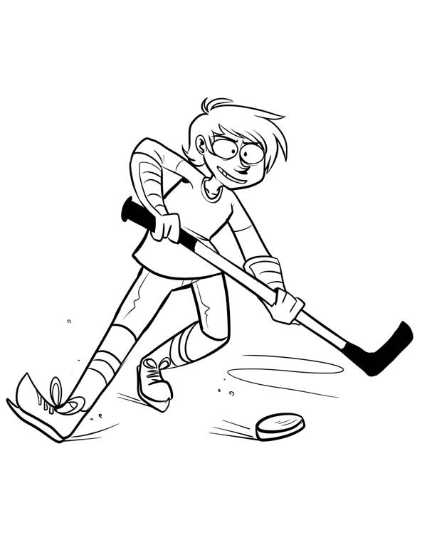 Hockey Player Keep the Puck Coloring Page