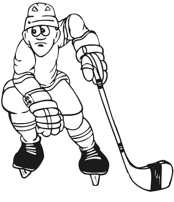 Hockey Player Picture Coloring Page