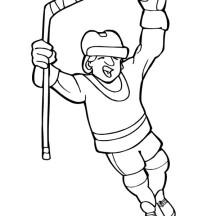 Hockey Player Score Coloring Page