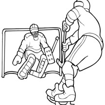 Hockey Player Solo to Opponent Goal Coloring Page
