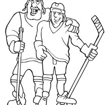 Hockey Player Teammate Coloring Page
