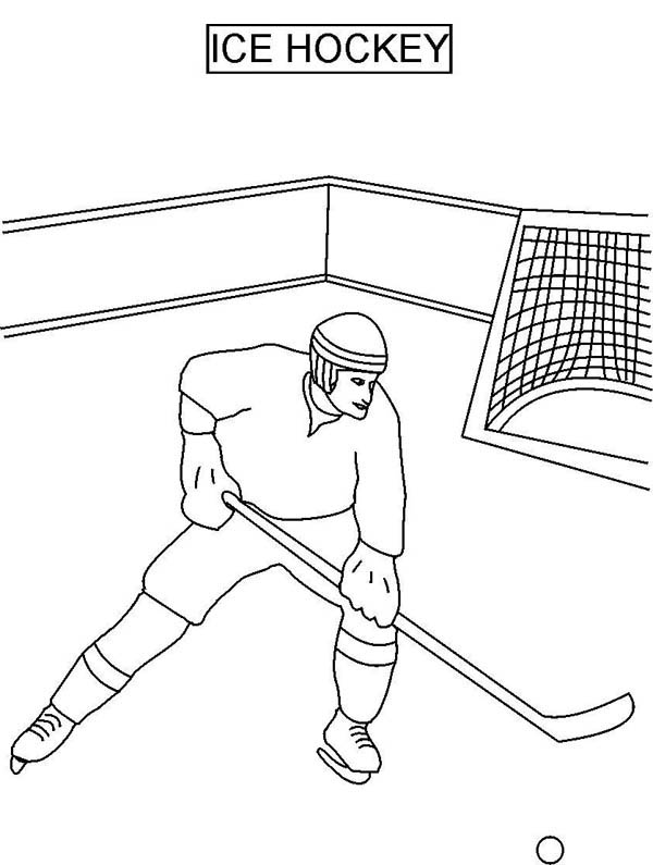 Hockey Player on Ice Coloring Page
