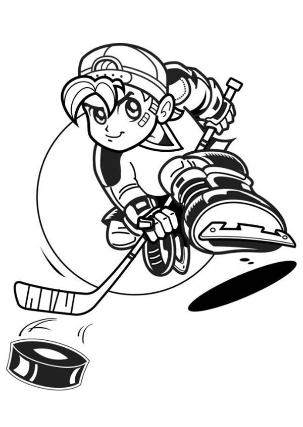 Hockey Player with Hat Coloring Page