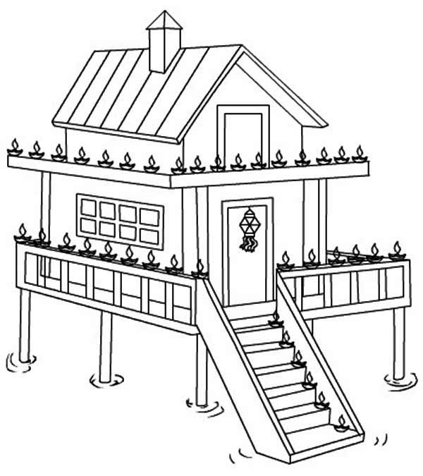 House on Water in Houses Coloring Page