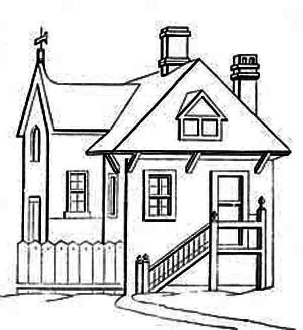 Houses With In Front Of Stair Coloring Page Netart