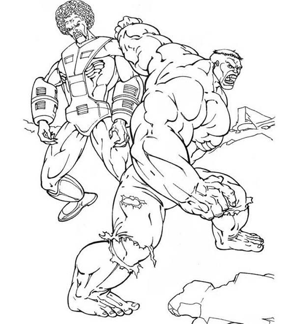 Hulk Beating His Enemy Coloring Page