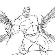 Hulk Pull Out a Lot of Cable Coloring Page