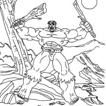 Hulk Tearing Tree Branch Coloring Page