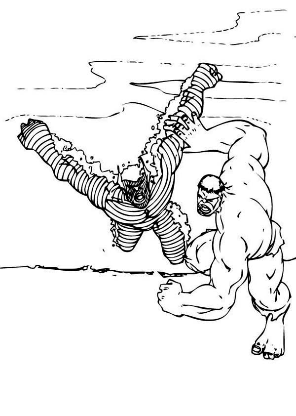 Hulk Throw Down Enemy to the Floor Coloring Page