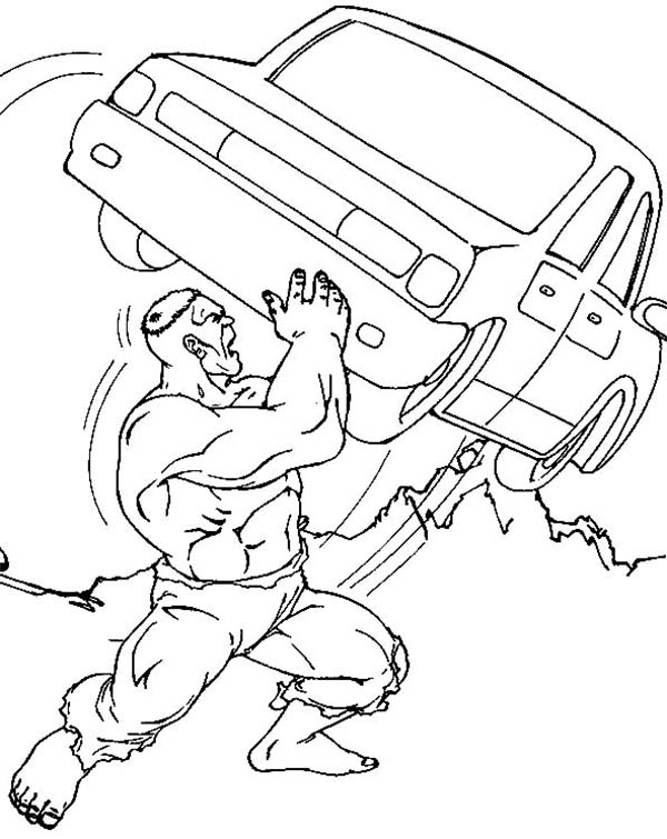 Hulk Wrecking Car Coloring Page