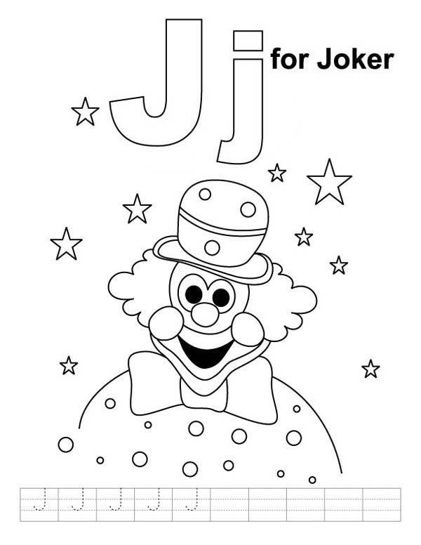 J for Joker Coloring Page