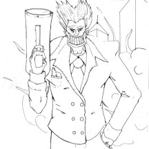 Joker with Big Smile and Big Gun Coloring Page