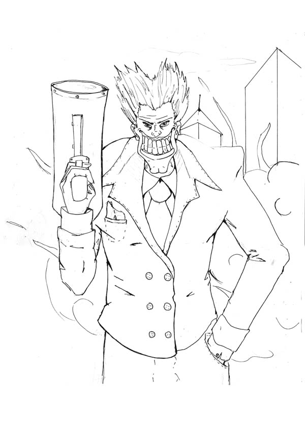 Joker with Big Smile and Big Gun Coloring Page