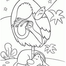 Kevin the Bird and Dug the Dog in Disney Up Coloring Page