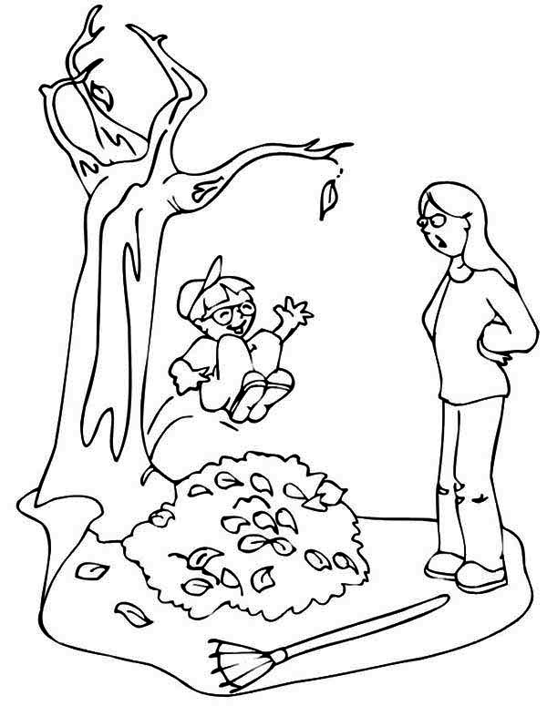 Kid Jumping to Pile of Fall Leaf Coloring Page