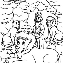 King Darius Put Daniel into Lions Den in Daniel and the Lions Den Coloring Page
