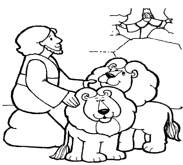 King Throw Daniel into Lions Den in Daniel and the Lions Den Coloring Page