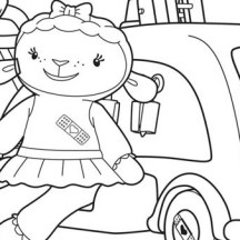 Lambie and Car in Doc McStuffins Coloring Page