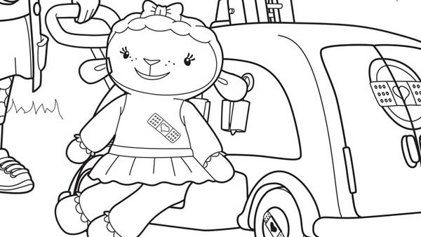 Lambie and Car in Doc McStuffins Coloring Page - NetArt