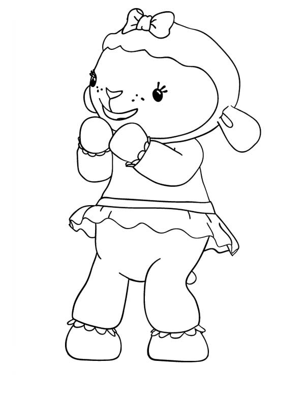 Lambie the Lamb is Happy in Doc McStuffins Coloring Page