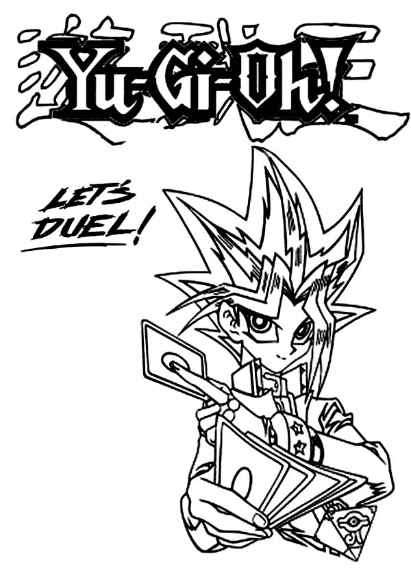 Lets Duel on Yu Gi Oh Coloring Page