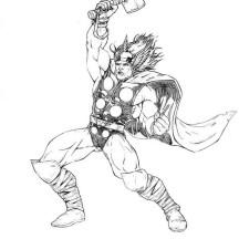 Lighting on Thor Mjolnir Coloring Page