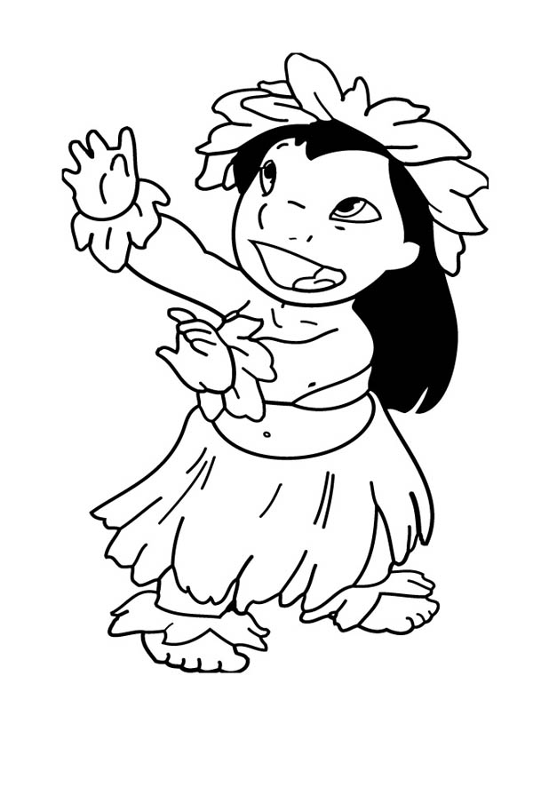 Lilo is Hawaiian Lovely Girl Coloring Page