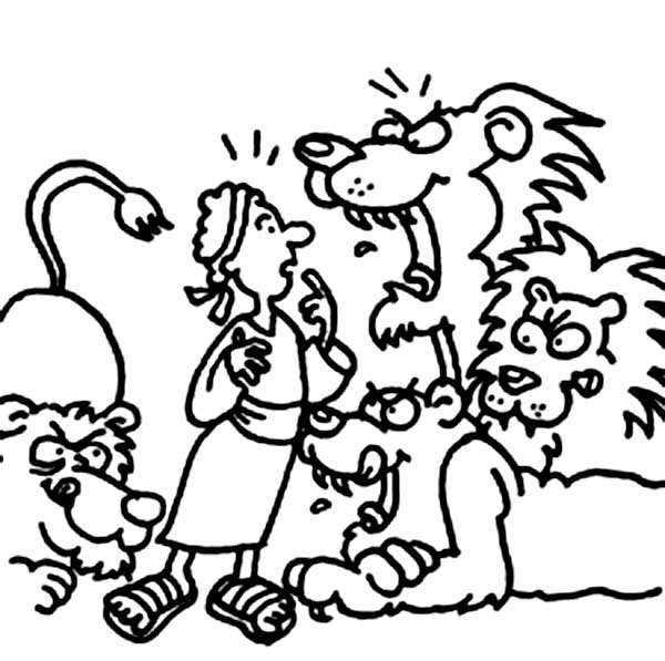 Lions Want to Eat Daniel in Daniel and the Lions Den Coloring Page