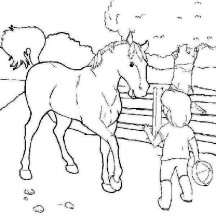 Little Boy and His Horse in Horses Coloring Page