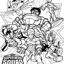 Magnificent Super Hero Squad Coloring Page
