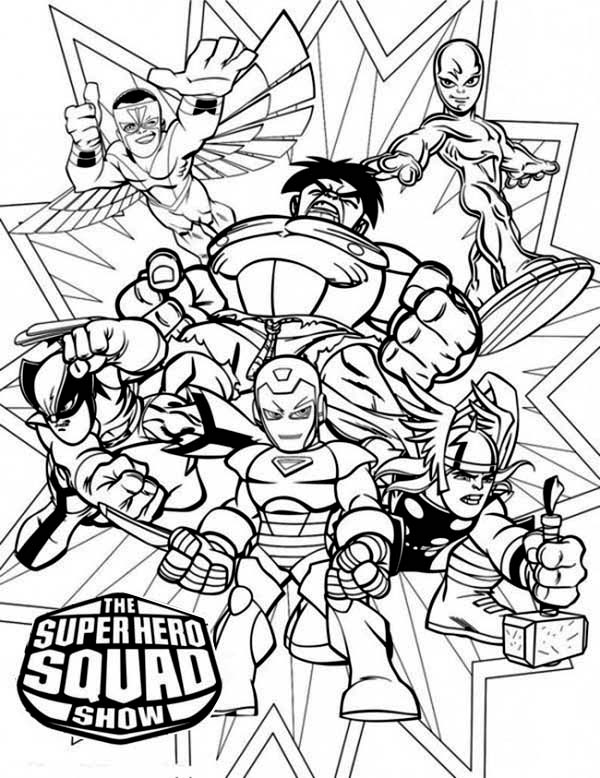 Magnificent Super Hero Squad Coloring Page