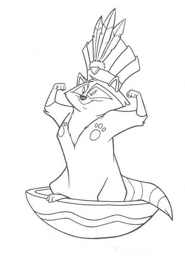 Meeko Pocahontas Raccoon Coloring Page NetArt