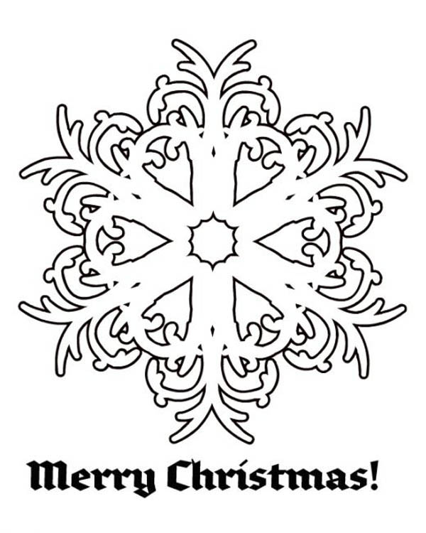 Merry Christmas Snowflakes Coloring Page