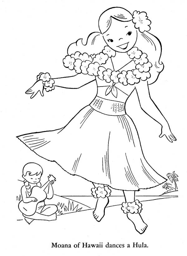 Moana of Hawaiian Dances a Hula Coloring Page