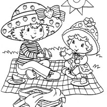 Mother and Baby Picnic Coloring Page