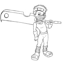 Naruto Chibi Zabuza Drawing Coloring Page